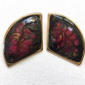 ⭐️ 3 for $15 ⭐️ VTG oversized enamel Post Earrings